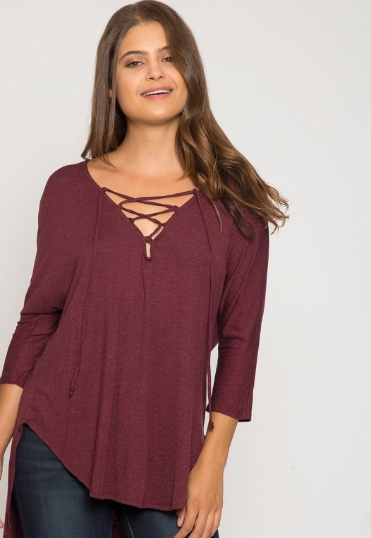 Wake Up Knit Top in Burgundy alternate img #5