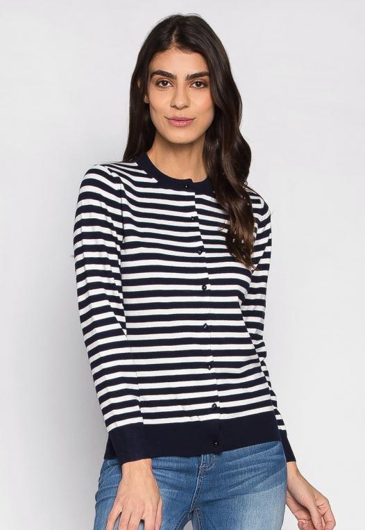 Black & White Thin Stripe Button Up Cardigan alternate img #1