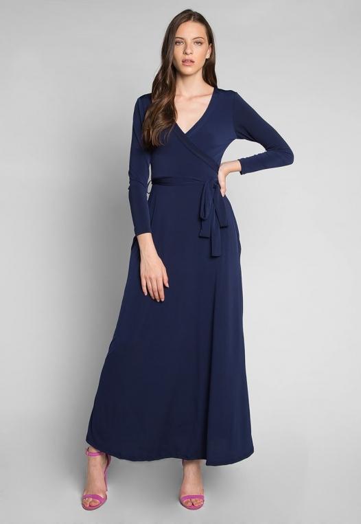 Katherine Wrap Maxi Dress in Navy alternate img #1