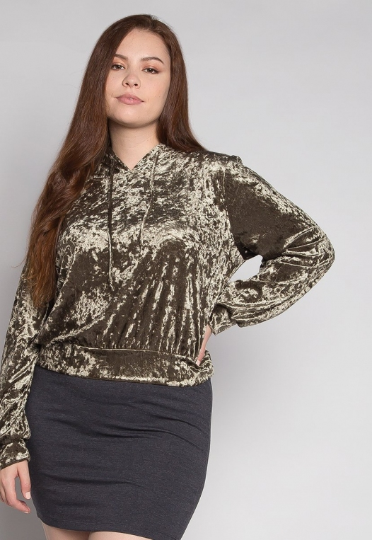 Plus Size Unpredictable Crop Hoodie in Olive alternate img #5