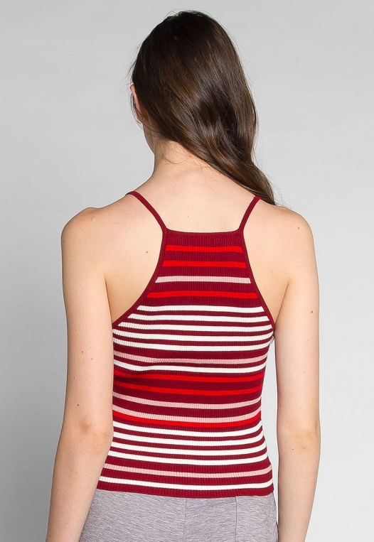 Stripes on Stripes Knit Top in Red alternate img #2