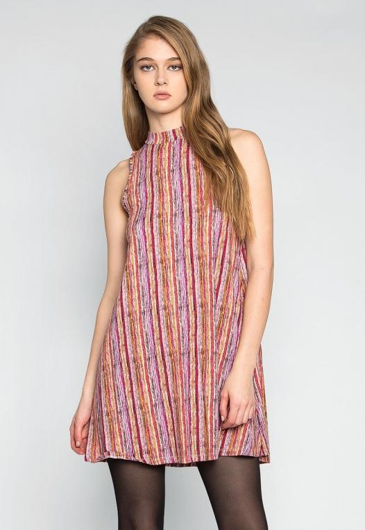 Colorful Party Striped Mock Neck Dress alternate img #1