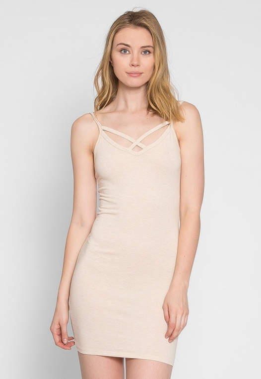 Day Out Knit Bodycon Dress in Beige alternate img #4