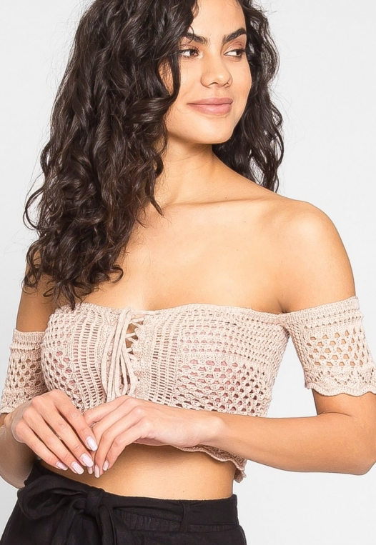 Puerto Crochet Off Shoulder Crop Top in Blush alternate img #2