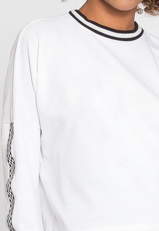 For You Checkboard Trim Knit Top in White alternate img #7