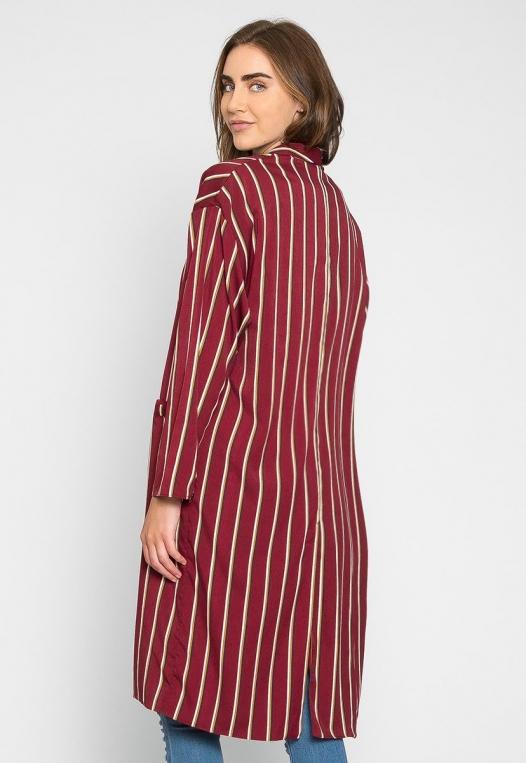 Rumors Longline Stripe Kimono in Wine alternate img #2
