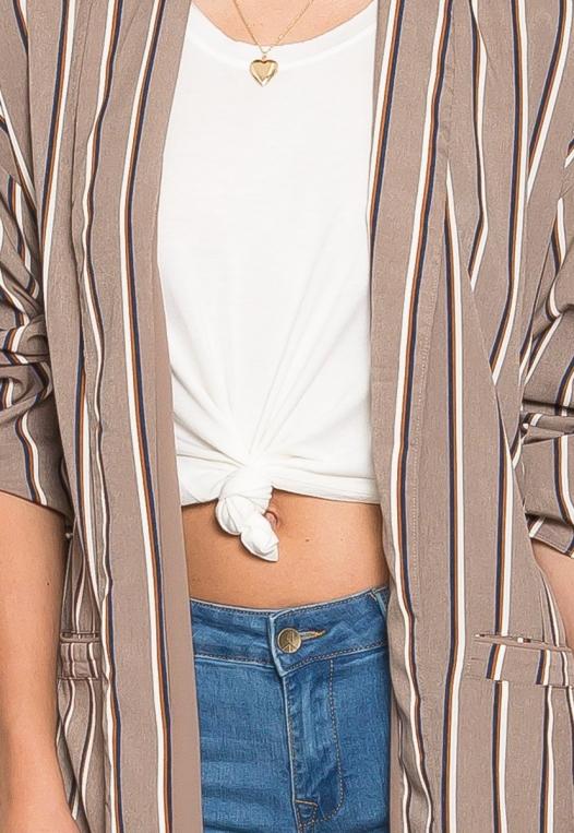 Rumors Longline Stripe Kimono in Gray alternate img #6
