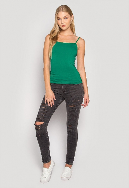 California Basic Cami Top in Green alternate img #4