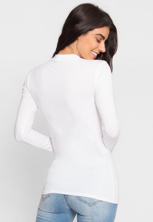 Sue Mock Neck Long Sleeve Top in White alternate img #3
