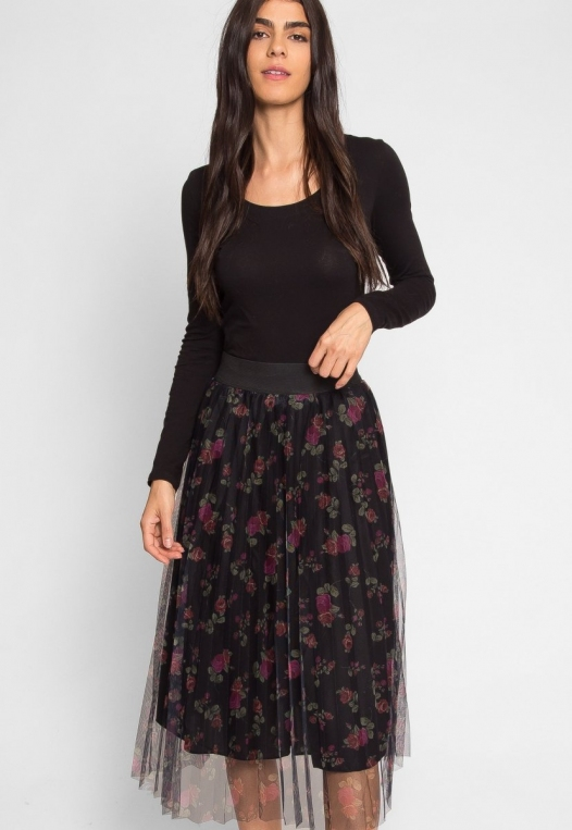 Party Pleated Mesh Floral Skirt alternate img #6