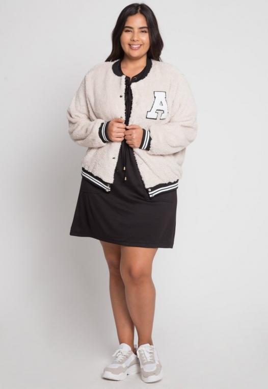 Plus Size Letterman Teddy Varsity Jacket in Beige alternate img #4