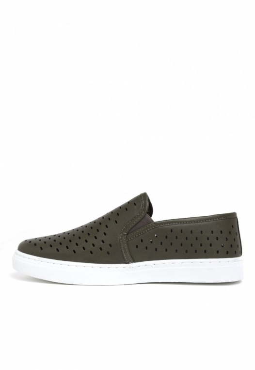 Ace Laser Cut Sneakers in Olive alternate img #3