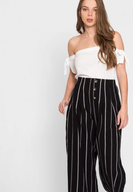 Granada Button Front Stripe Culottes alternate img #6