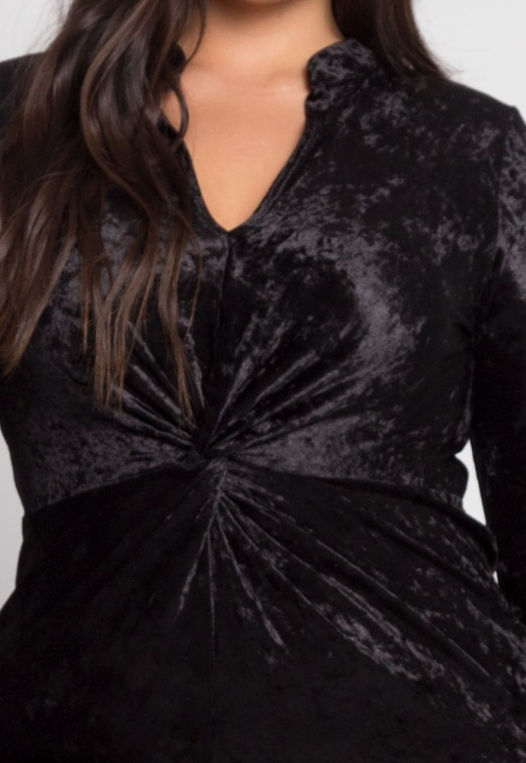 Plus Size Wild Velvet Party Dress in Black alternate img #6