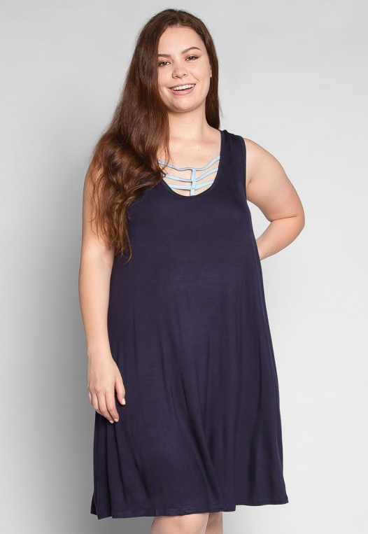 Plus Size Love Stories Tank Dress in Navy alternate img #1