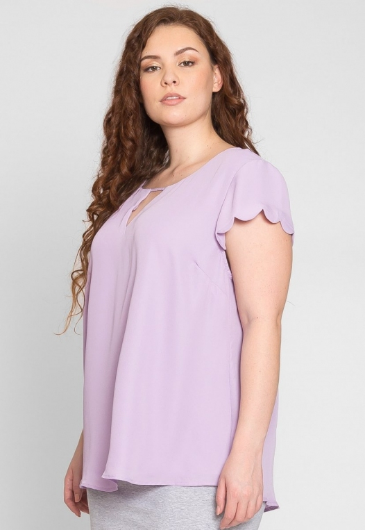 Plus Size Clouds Scallop Edge Top in Lavender alternate img #3