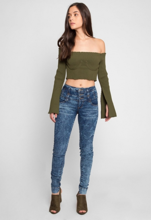 Faux Underwire Long Sleeve Top in Olive alternate img #5