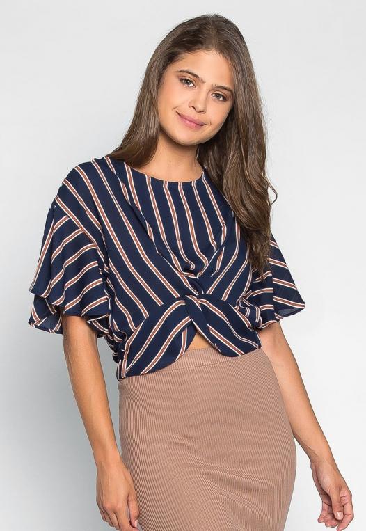 Teach Me Twisted Stripe Blouse in Navy alternate img #1