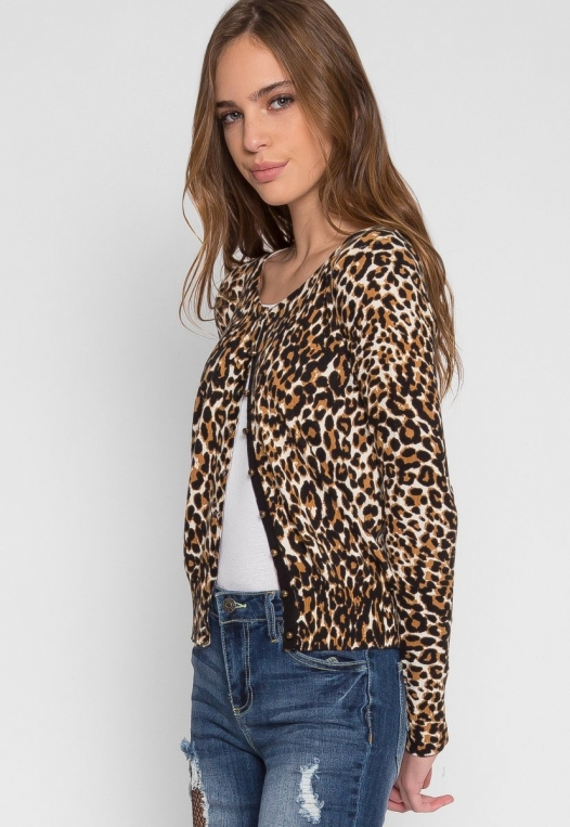 Wild Side Cardigan in Brown Leopard alternate img #2