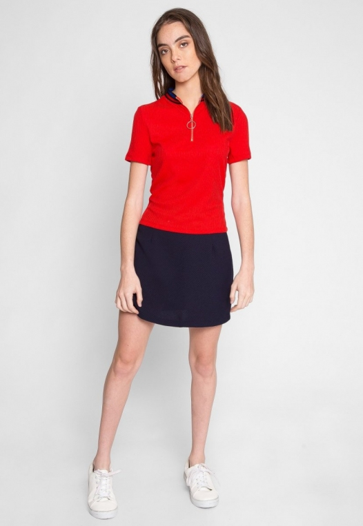Exuberant Sports Trim Polo Top in Red alternate img #5