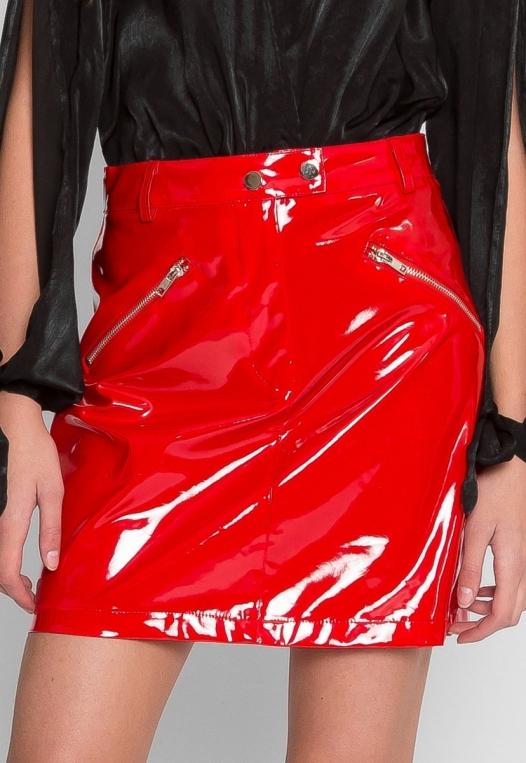 Pleather Zipper Detail Skirt alternate img #2