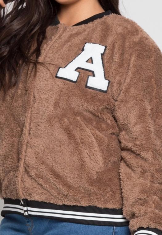 Plus Size Letterman Teddy Varsity Jacket in Brown alternate img #6