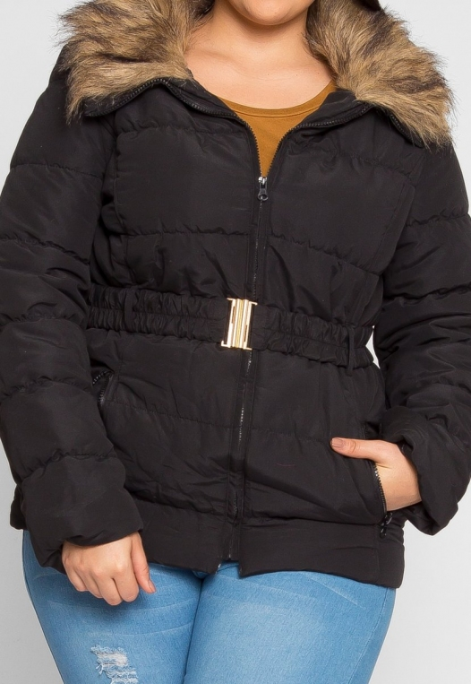 Plus Size Luxurious Faux Fur Trim Jacket in Black alternate img #6