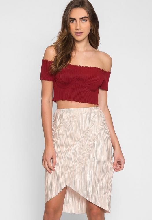 Metallic Pleated Tulip Skirt in Beige alternate img #1