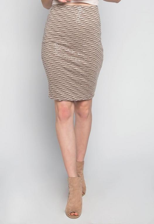 Ocean Waves Sequin Fitted Skirt in Brown alternate img #1