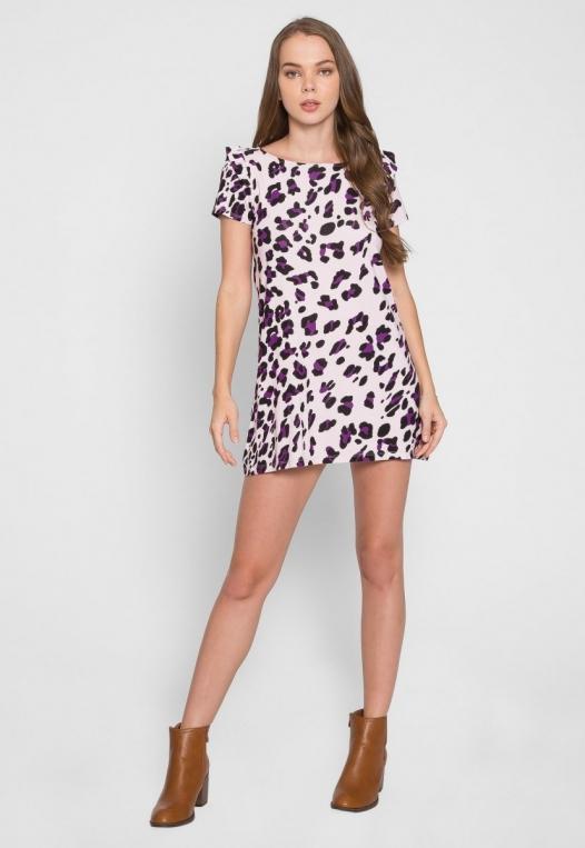Wild Child Cheetah Tunic Dress in Lilac alternate img #5