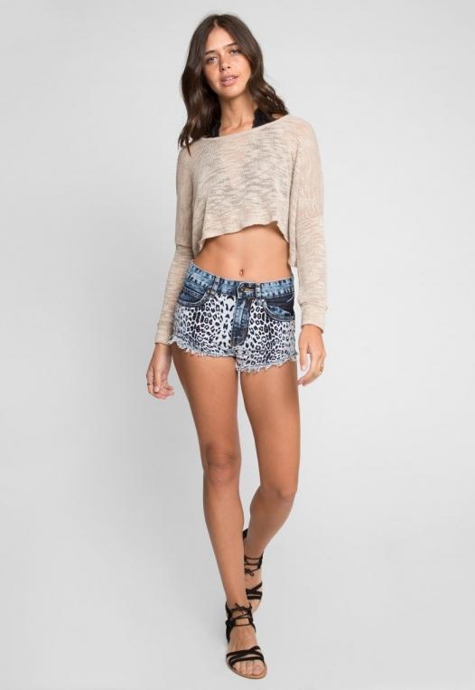 Amazon Cheetah Print Denim Shorts alternate img #5