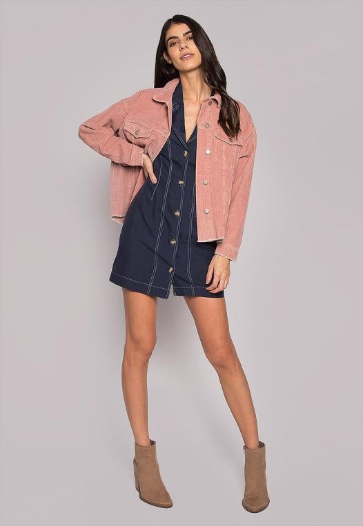 Emily Raw Hem Corduroy Jacket In Pink alternate img #1