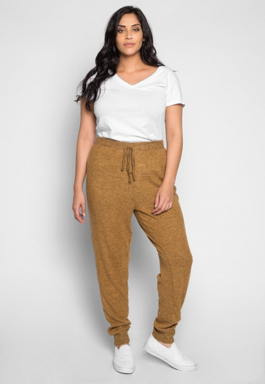 Plus Size Confetti Ribbed Side Joggers in Mustard alternate img #4