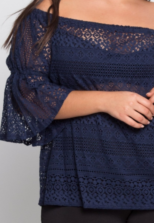 Plus Size Susie Off Shoulder Lace Top in Navy alternate img #6