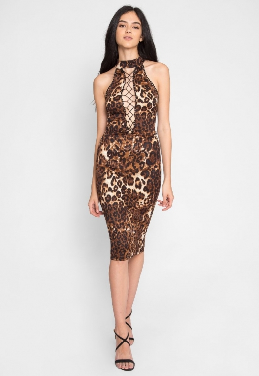 Belhurst Leopard Midi Dress alternate img #1