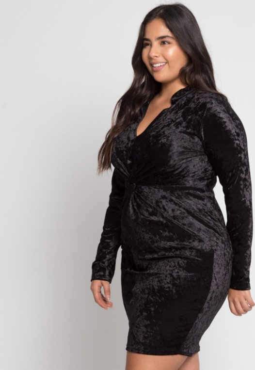 Plus Size Wild Velvet Party Dress in Black alternate img #5