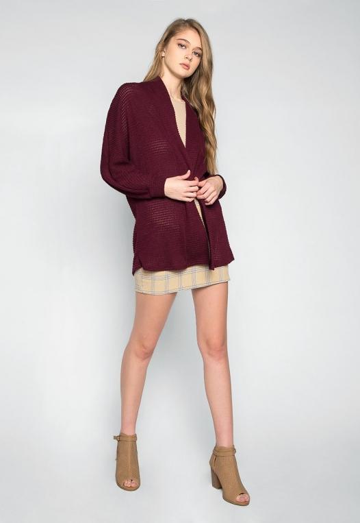 Keep Me Warm Textured Cardigan in Burgundy alternate img #4