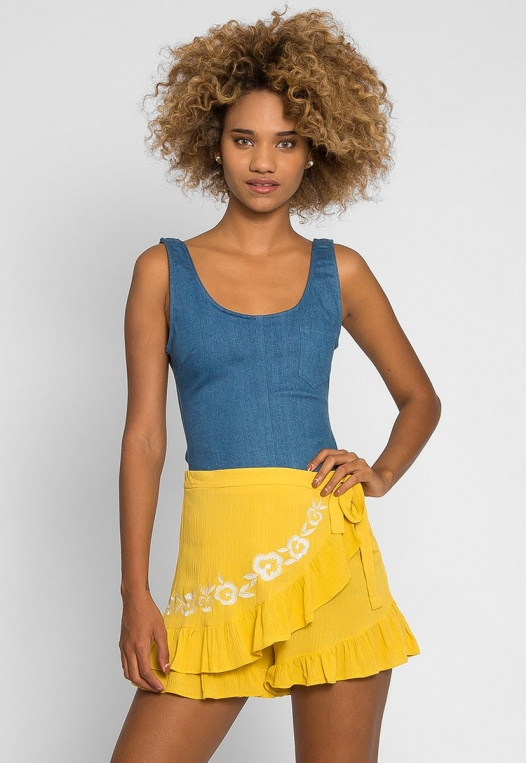 Floral Embroidered Shorts in Yellow alternate img #3