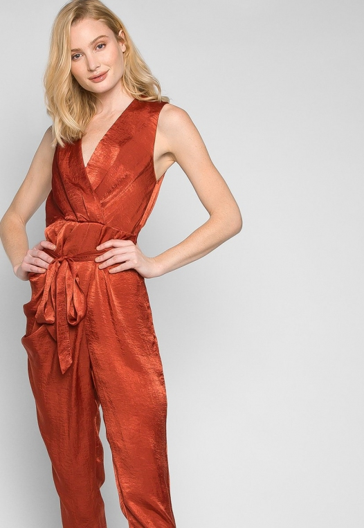 Young & Beautiful Wrap Belted Jumpsuit in Rust alternate img #5