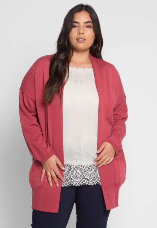 Plus Size Fireplace Cardigan in Burgundy alternate img #2