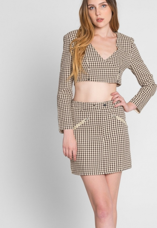 Money Houndstooth Two Piece Set in Brown alternate img #7