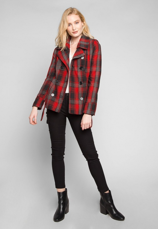Autumn Belted Plaid Coat alternate img #4