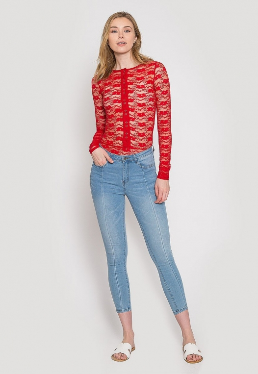 Davenport Lace Bodysuit in Red alternate img #4