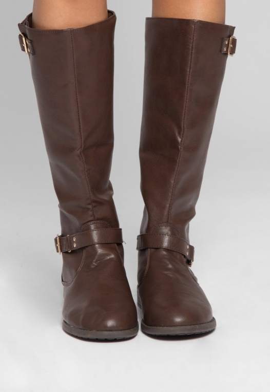 Justina Buckle Boots in Brown alternate img #2