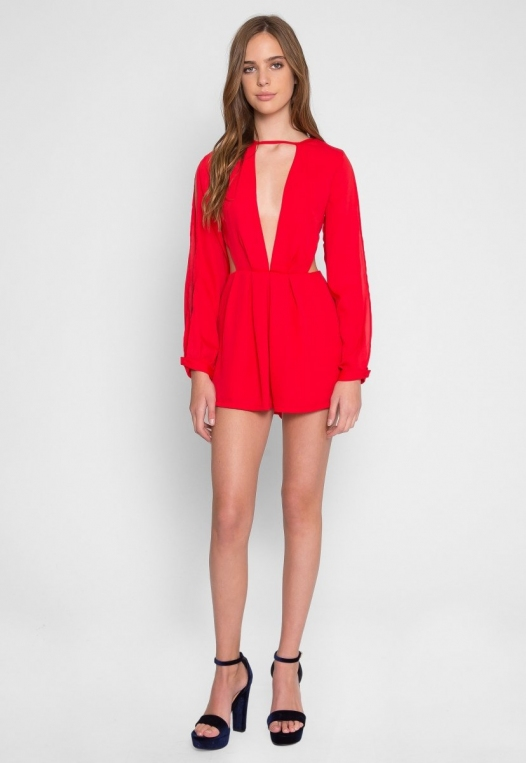 Long Sleeve Cut Out Romper in Red alternate img #4