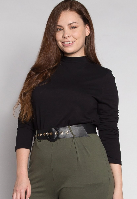 Plus Size Iris Mock Neck Top in Black alternate img #3