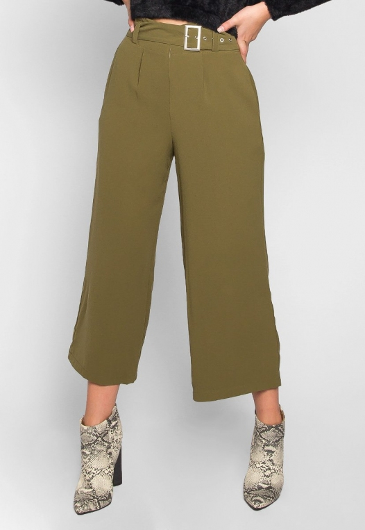 Barcelona Crop Wide Leg Belted Pants in Olive Green alternate img #1