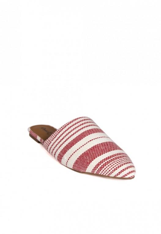 Stripe Lounge Mule Flats in Red alternate img #3