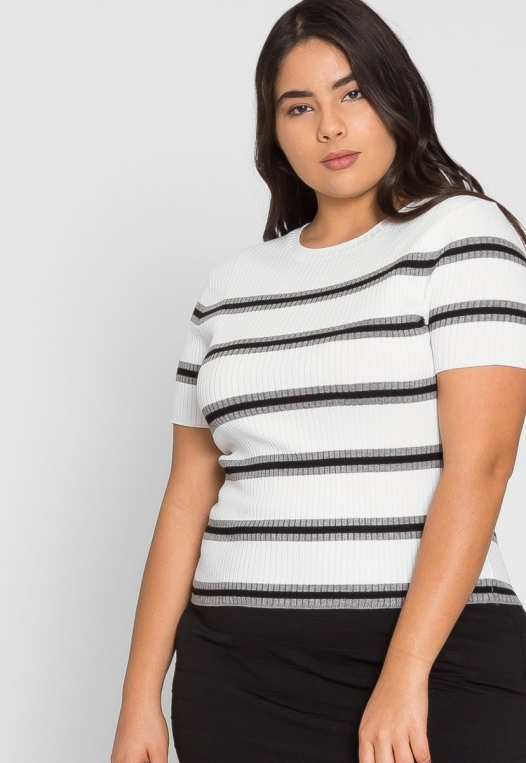 Plus Size Rib Knit Stripe Top in Gray alternate img #5