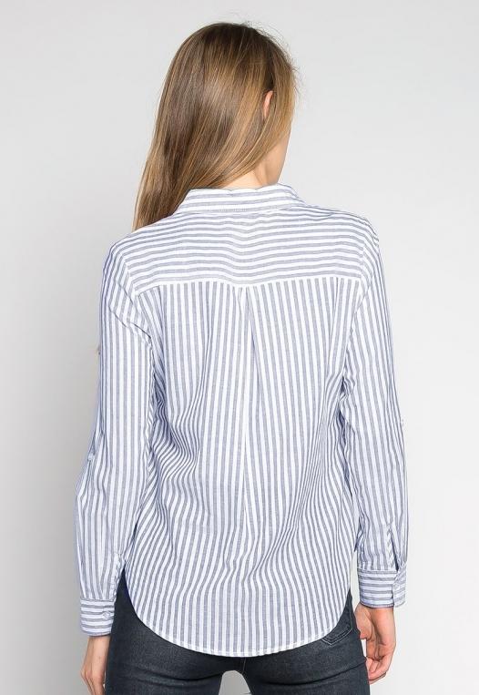 Bosslady Striped Shirt in Navy alternate img #2